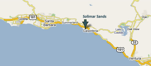 Location of Carpinteria - between Goleta (north) and Ventura (south)