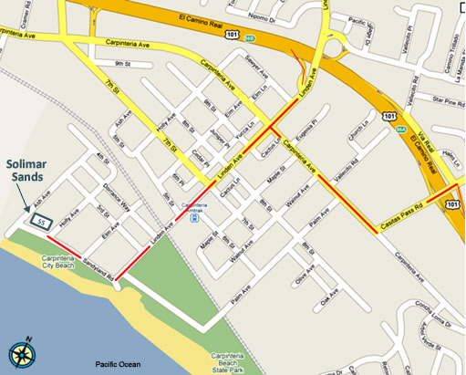 Street-level map of Solimar Sands in Carpinteria