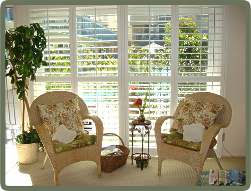 The sunny living room window overlooks the patio garden and pools