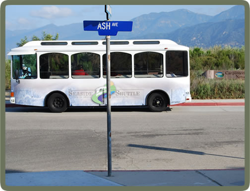 Electric bus right across street - go to town or to Santa Barbara